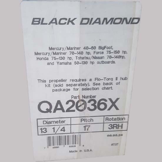 specs - black diamond boat propeller 13.25 x 17 3rh and torq kit