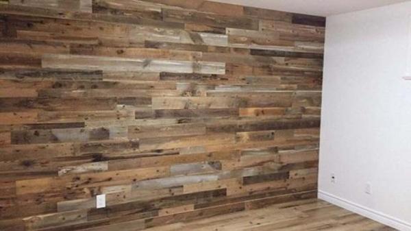installed barn board wall and flooring