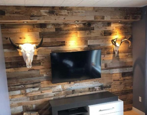 barn board beam pot lights